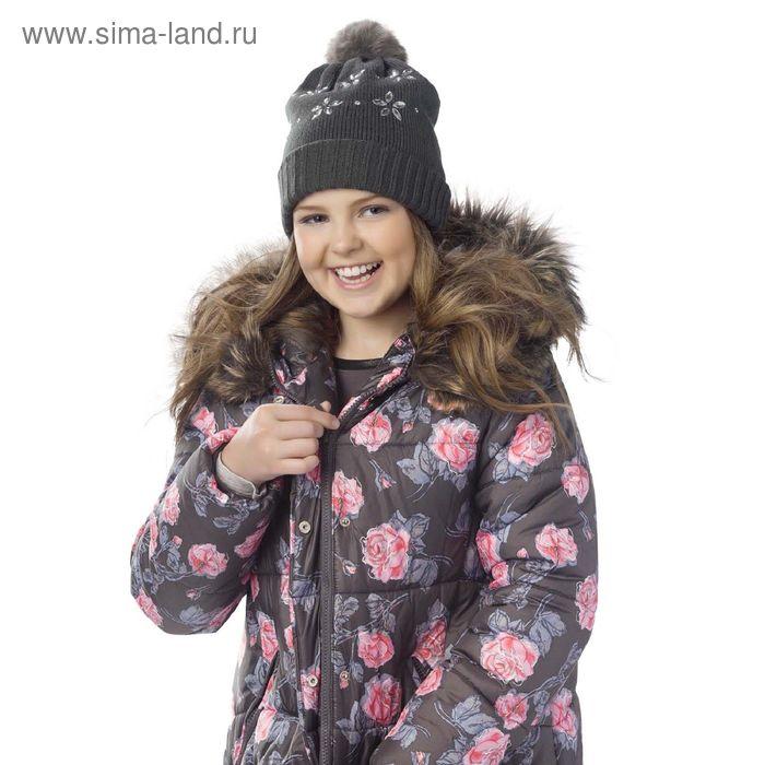 Шапка для девочек, размер 53-54, цвет темно-серый  GQ4005