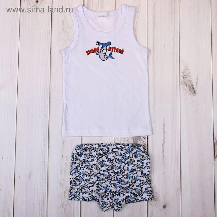 """Комплект для мальчика """"Молот-акула"""" (майка+трусы), рост 110-116 см (30), цвет белый (арт. Р208430_Д)"""