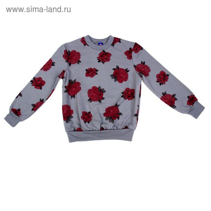 """Джемпер для девочки """"Цветы"""", рост 134-140 см (34), цвет серый (арт. Р827444_Д)"""