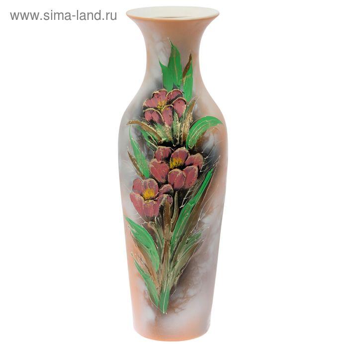 """Ваза напольная """"Амфора"""" акрил, цветы, бежевый"""