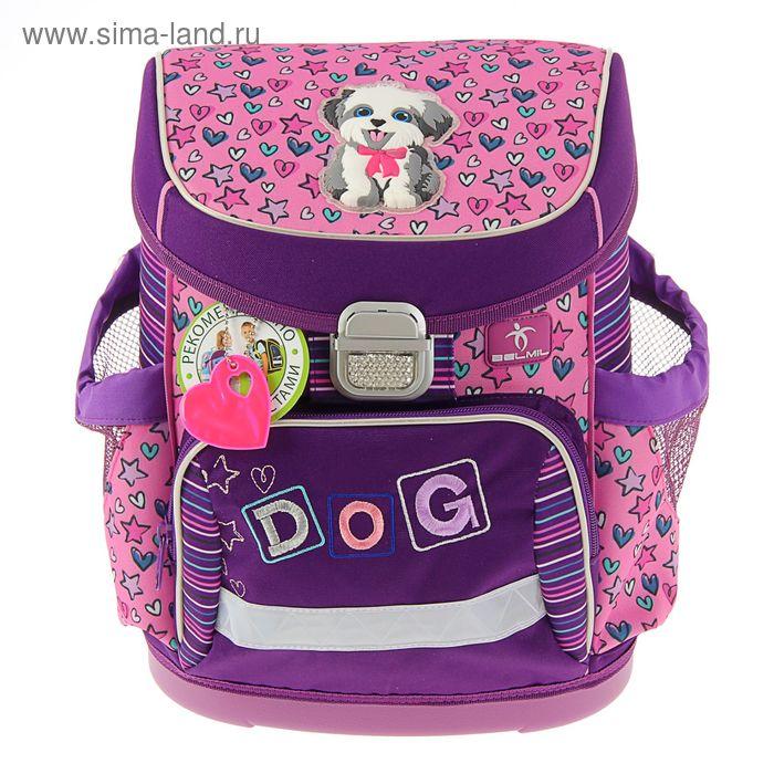 Ранец на замке Belmil 35*25*16 эргономичная спинка, для девочки, 405-33 Funny Dog