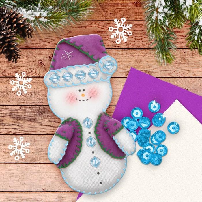 """Набор для создания подвесной ёлочной игрушки из фетра """"Снеговик"""""""