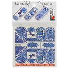 """Слайдер-дизайн для маникюра """"Гжель с птицей"""", N467, цвет синий/белый/голубой"""