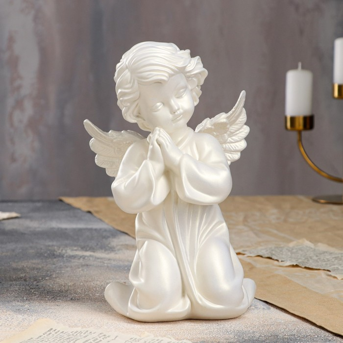 """Статуэтка """"Ангел молящийся в платье"""" перламутровая"""