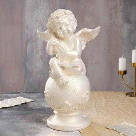 """Статуэтка """"Ангел на шаре со скрипкой"""" большая, перламутровая"""