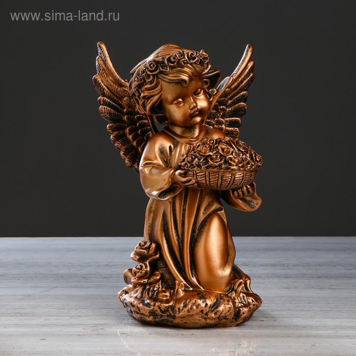 """Статуэтка """"Ангел с корзиной цветов"""" большая, бронза"""
