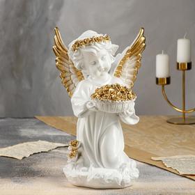 """Статуэтка """"Ангел с корзиной цветов"""" большая, золото"""