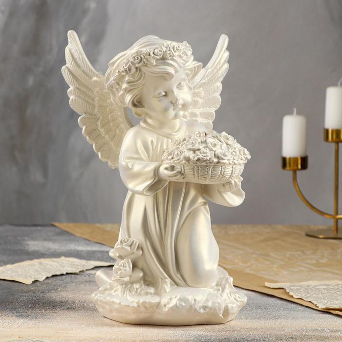 """Статуэтка """"Ангел с корзиной цветов"""" большая, перламутровая"""