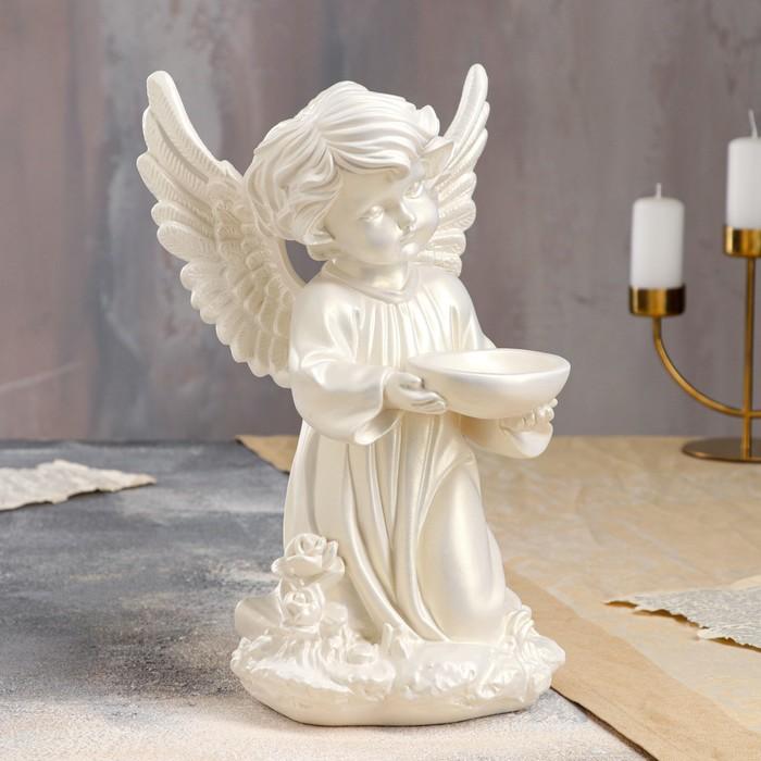 """Статуэтка """"Ангел с чашей"""" перламутровая"""