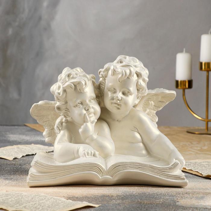 """Статуэтка """"Ангелы пара с книгой"""" перламутровая"""