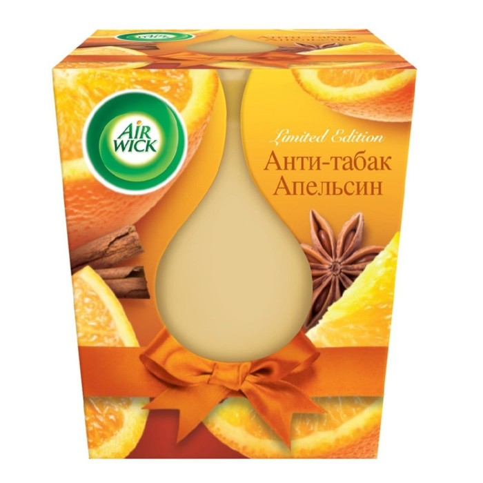 "Ароматизированная свеча Airwick ""Анти-табак и апельсин"", 105 г"