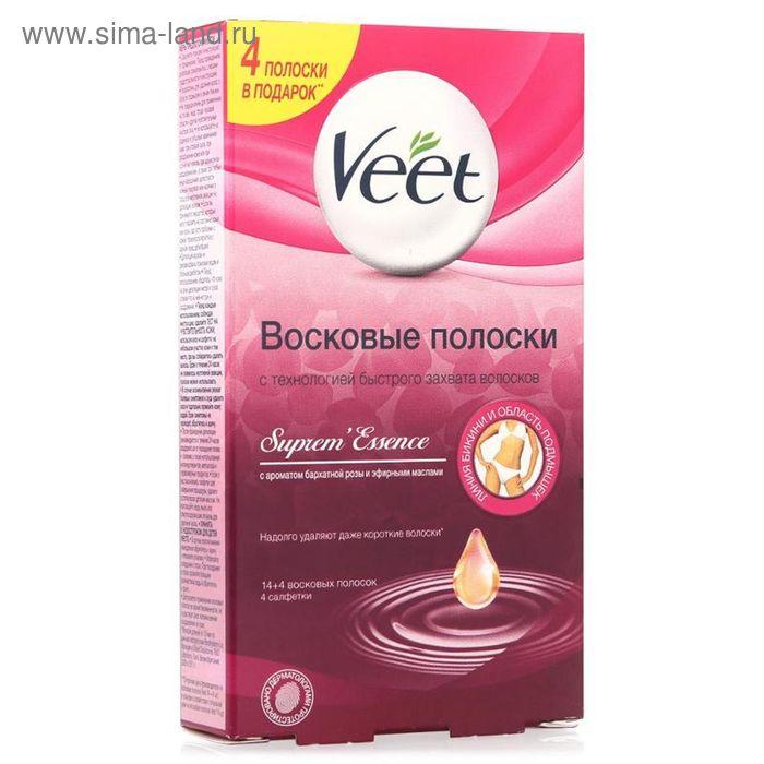 Восковые полоски Veet с ароматом бархатной розы и эфирными маслами, 14 шт.
