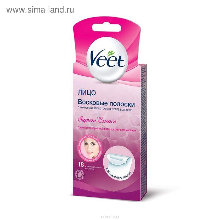 Восковые полоски для лица Veet с ароматом бархатной розы и эфирными маслами, 18 шт.