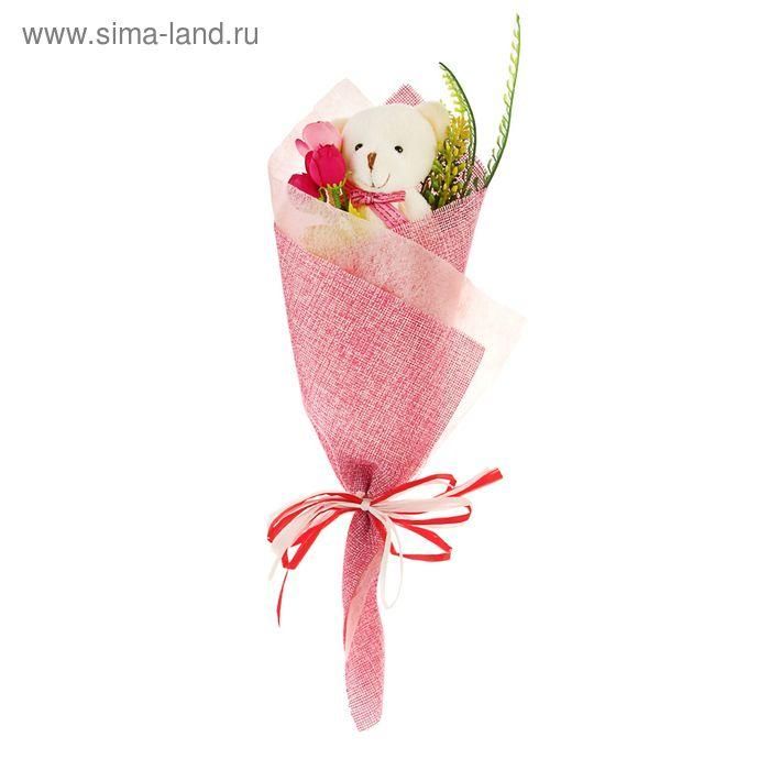 """Букет из игрушек """"Мишка в конверте"""" розовый"""