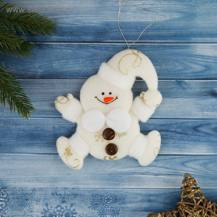 """Мягкая ёлочная игрушка """"Снеговик"""" золотые снежинки"""