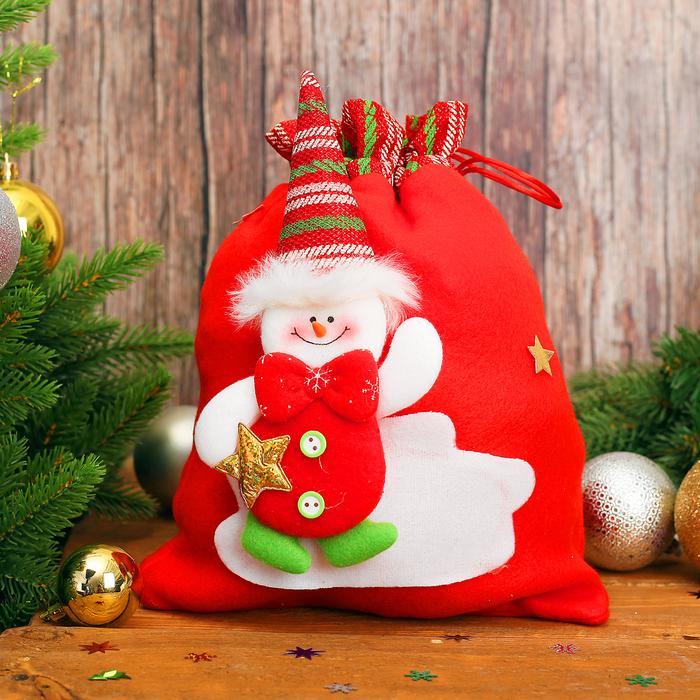 """Новогодний мешок для подарков """"Снеговичок"""" с завязками, вместимость 600-700 г"""