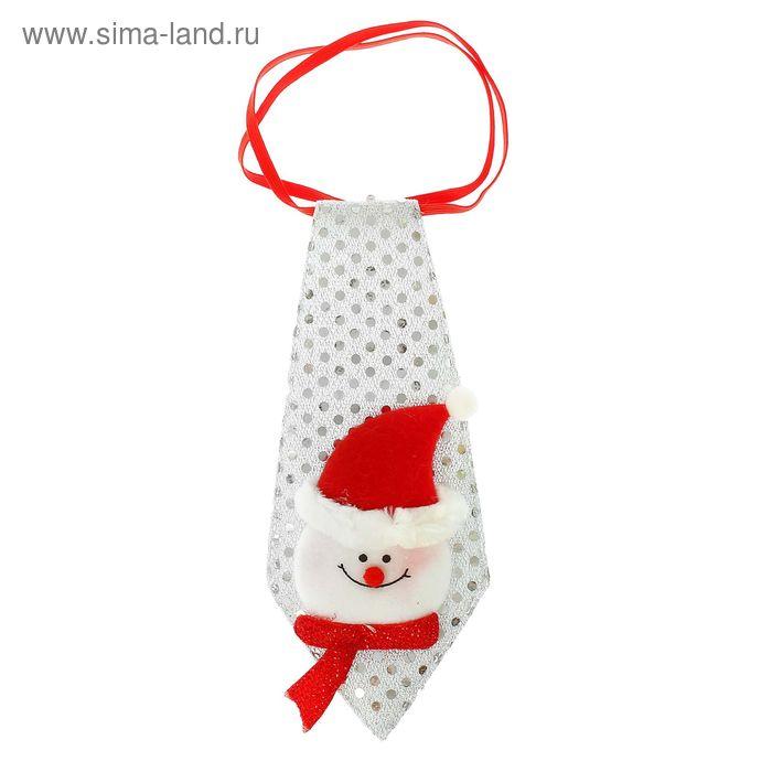 """Карнавальный галстук """"Снеговик"""" в колпачке с бантиком,"""