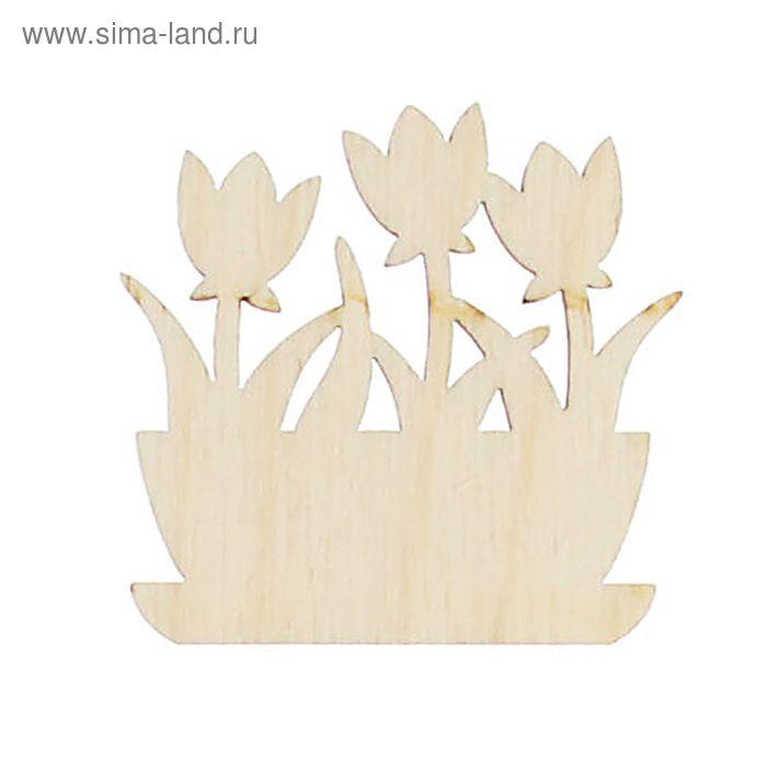 """Заготовка для декора """"Кашпо с тюльпанами"""", 4,5х4,1 см"""