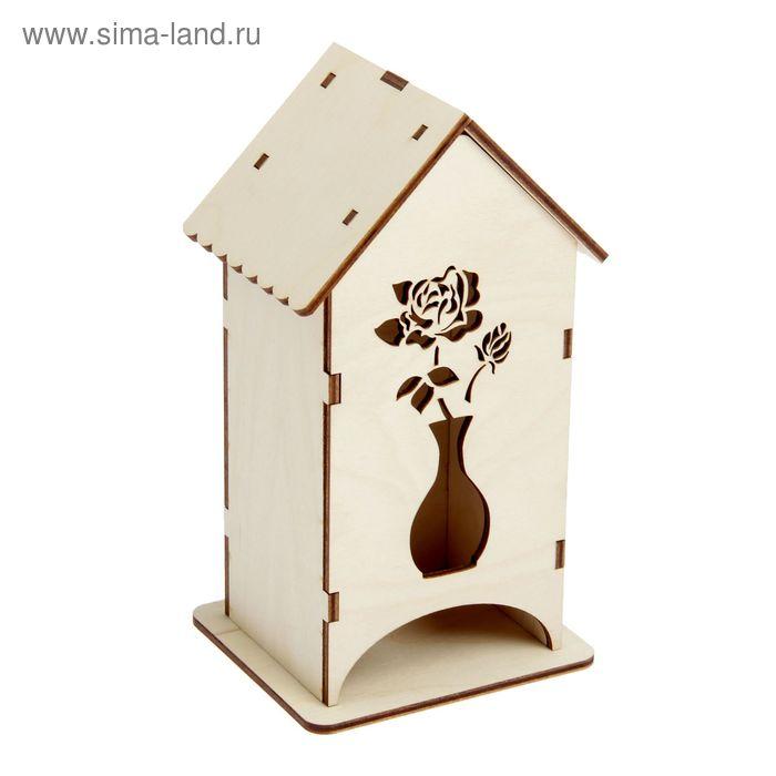 """Заготовка для декора """"Роза в вазе"""", чайный домик, набор 9 деталей, высота 20 см"""