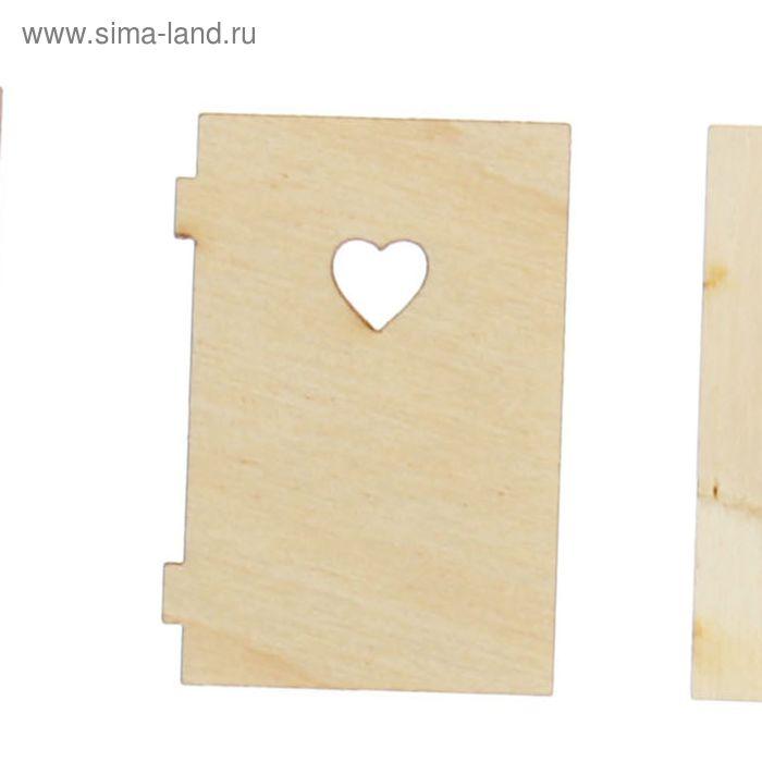 """Заготовка для декора """"Малая дверка с сердечком"""" 2,4х3,1 см"""