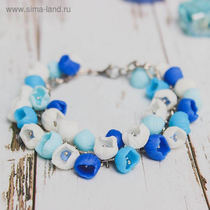 """Браслет """"Цветы"""" колокольчики, цвет голубо-синий"""