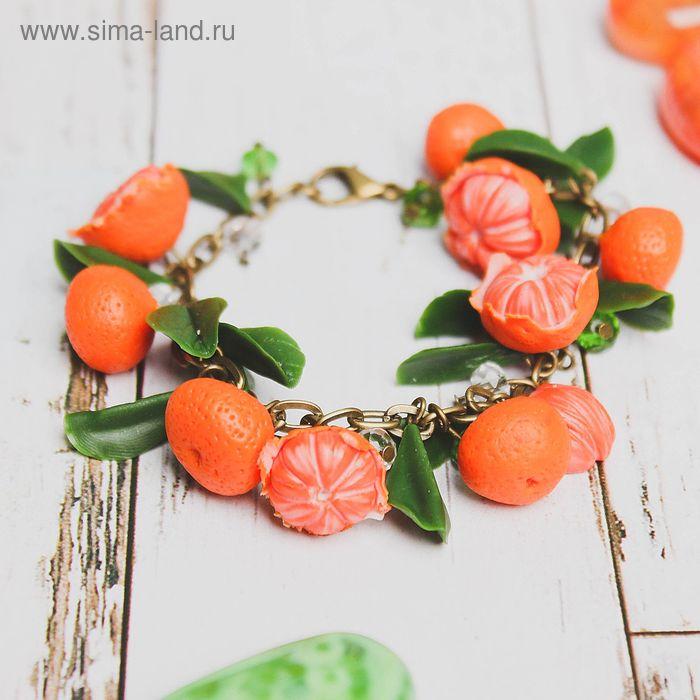 """Браслет """"Мандаринка"""", цвет оранжево-зеленый"""