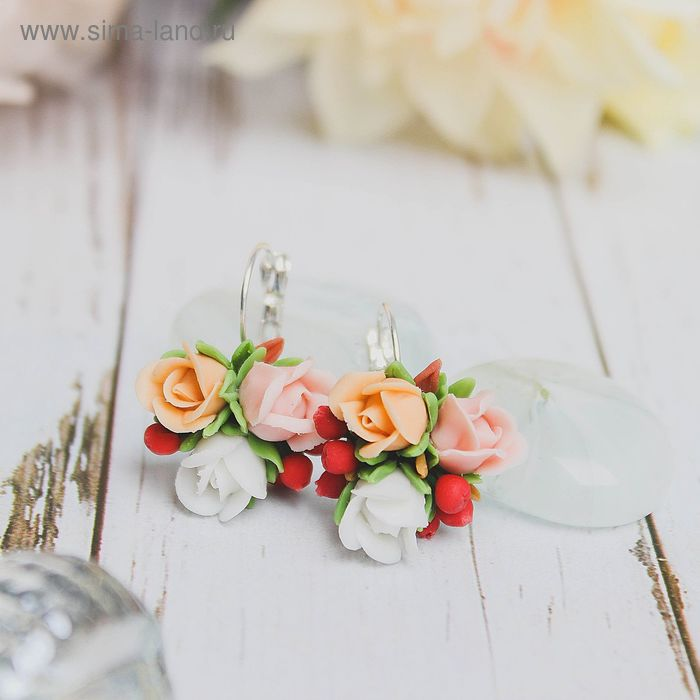 """Серьги """"Розы в ягодах"""", цветные"""