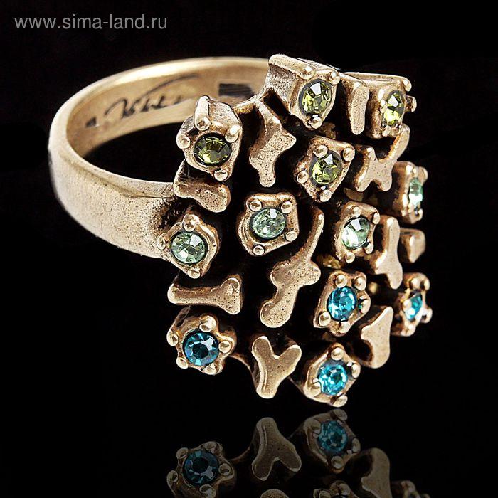 """Кольцо """"Мускус"""", размер 17, цвет зеленый в бронзе"""