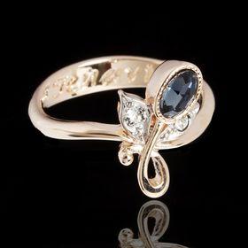 """Кольцо """"Маркадэ"""", размер 18, цвет синий в золоте"""