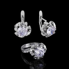 """Гарнитур 2 предмета: серьги, кольцо """"Эдем"""", размер 17, цвет белый в черненом серебре"""
