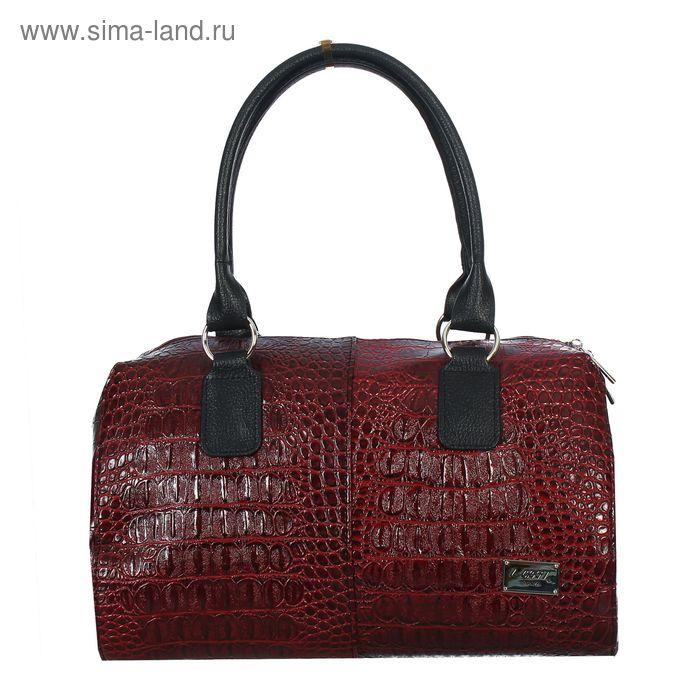 Сумка женская на молнии, 1 отдел, 1 наружный карман, красный крокодил