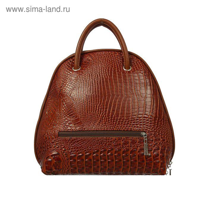 Сумка-рюкзак на молнии, 1 отдел, 1 наружный карман, коричневый крокодил