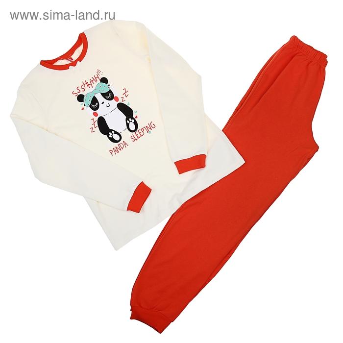 Пижама для девочки, рост 128 см (64), цвет экрю/коралловый (арт. CAJ 5258_Д)