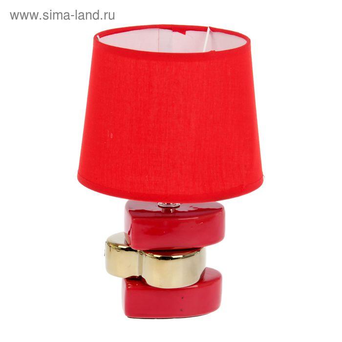"""Лампа настольная """"3 сердца"""" красное с золотом"""