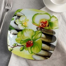 """Тарелка десертная 20 см """"Зеленая орхидея"""""""