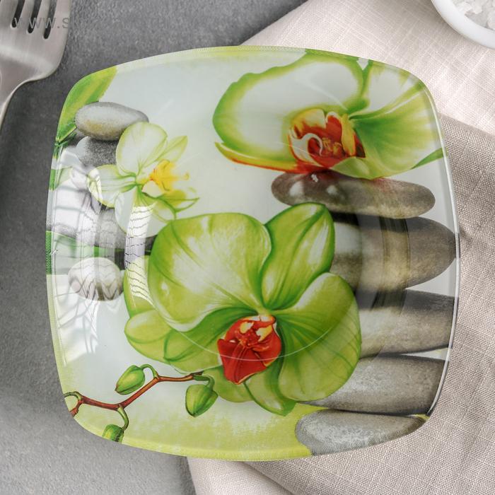 "Салатник 200 мл ""Зеленая орхидея"", 14х3 см"