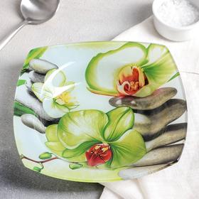 """Тарелка суповая 350 мл """"Зеленая орхидея"""", 20 см"""