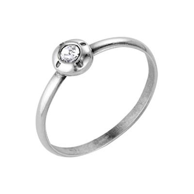 """Кольцо посеребрение с оксидированием """"Классика"""" круг с вставкой, 16 размер"""