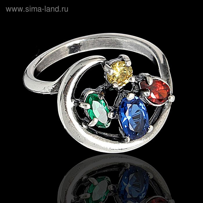 """Кольцо """"Самоцвет"""" окружность камней, посеребрение с оксидированием, размер МИКС"""