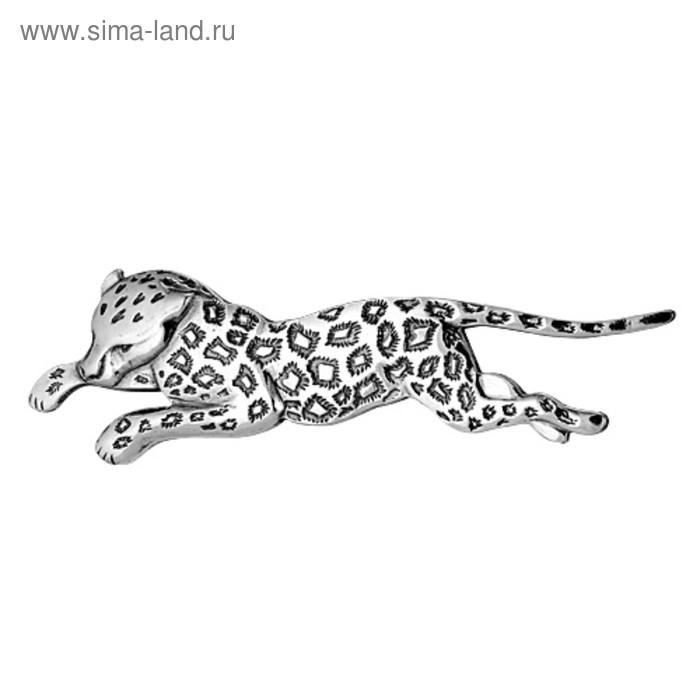 """Брошь """"Леопард"""", посеребрение с оксидированием"""