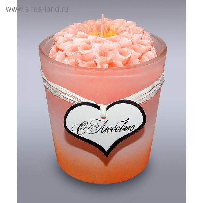 Свеча в стекле георгин оранжевый б