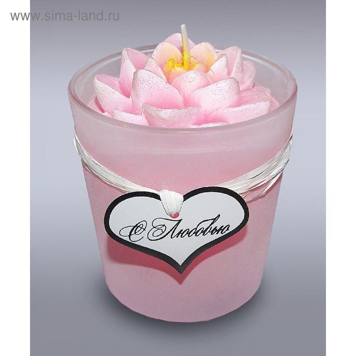Свеча в стекле лилия розовая б