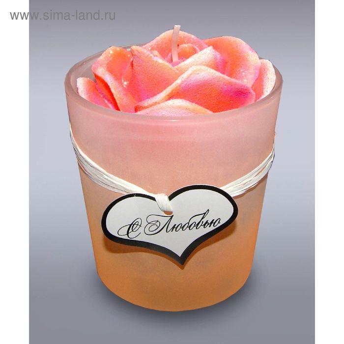 Свеча в стекле роза оранжевая барх б