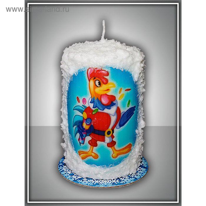 Свеча новогодняя заснеженная №4