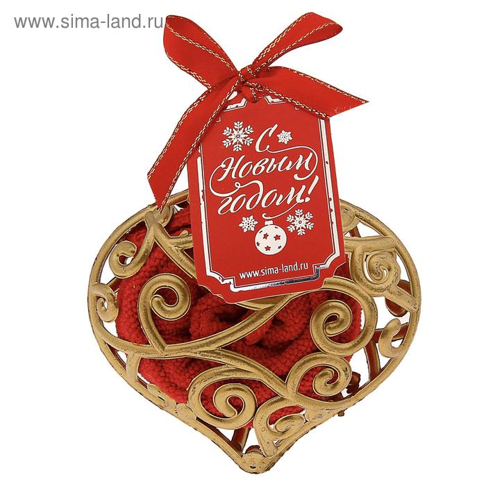 Полотенце сувенирное Collorista в новогодней игрушке, красное 25х25 см, микрофибра
