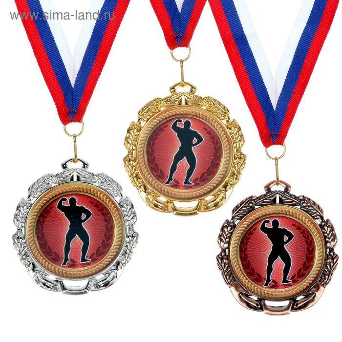 """Медаль тематическая 048 """"Бодибилдинг"""", диам 6,5 см Цвет зол"""