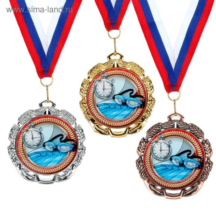 """Медаль тематическая 054 """"Плавание"""", диам 6,5 см Цвет сер"""