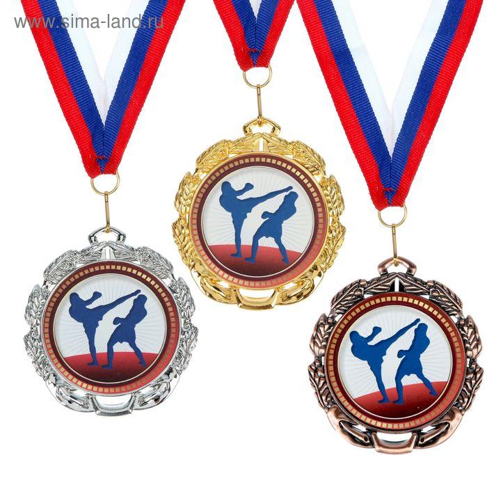 """Медаль тематическая 055 """"Кикбоксинг"""", диам 6,5 см Цвет сер"""