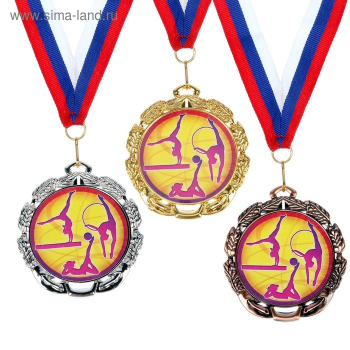 """Медаль тематическая 056 """"Худож. гимнастика"""", диам 6,5 см Цвет бронз"""
