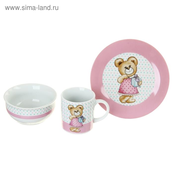 """Набор детской посуды """"Мишка с подарком"""", 3 предмета: кружка 200 мл, миска 300 мл, тарелка 175 мм"""